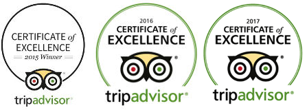Trip Advisor Certificate of Excellence and reviews
